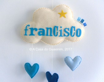 Cloud and Hearts Baby Mobile - Customized Baby Mobile