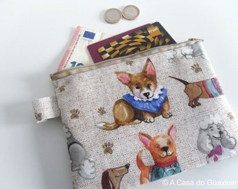 Dogs Zipper pouch - ID Holder - Wallet - Makeup Bag - Cell Phone Holder - Face Mask Pouch - Face Mask Keeper