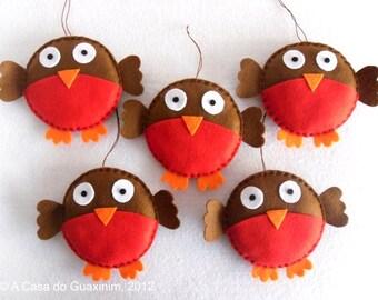 Set of 6 Christmas Robins - Christmas ornaments