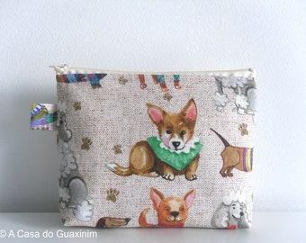 Dogs Zipper pouch - Makeup Bag - Cosmetics Case - Cosmetics Bag - Pencil Case