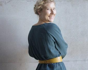 Leather corset belt, waist belt, obi belt in curry, waist belt woman light brown, gift for her