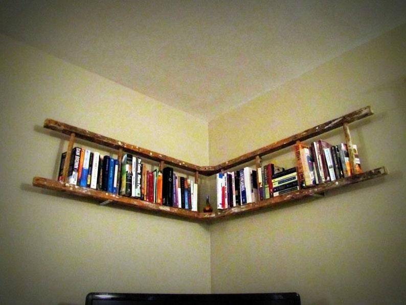 Antique Wooden Ladder Bookshelf image 0