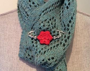 Silver plated cinnabar shawl pin