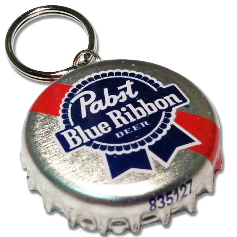 Beer Bottle Cap ID Tag  Pabst Blue Ribbon image 0