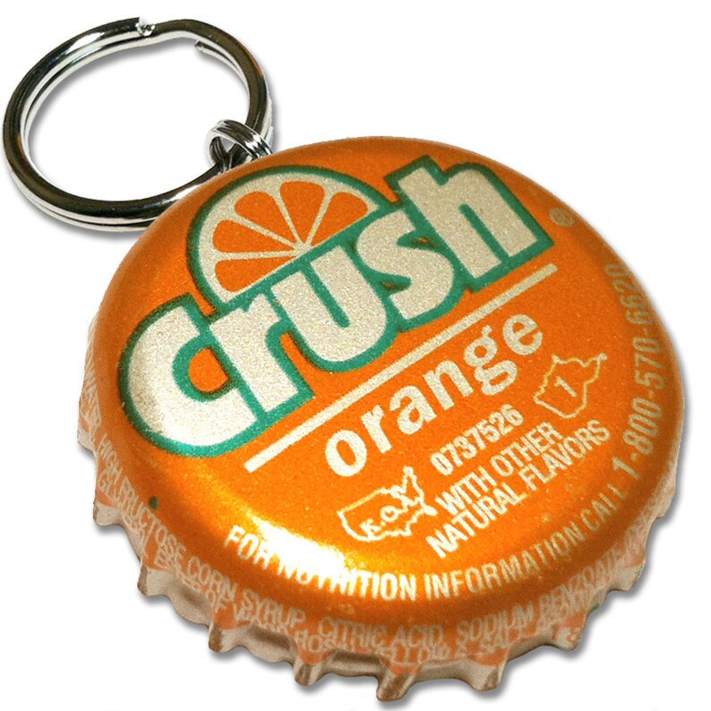 Orange Crush Bottle Cap Customizable ID Tag image 0