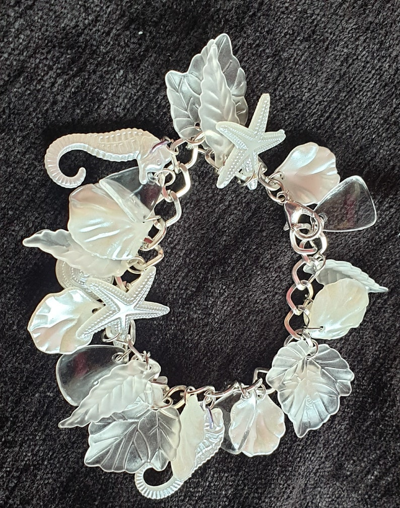 seahorses pearl /& translucent leaves- For all mermaids Pearly Queen charm bracelet in pure pearly whites sea shells starfish clear