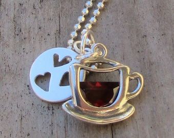 I love coffee I love tea handmade fine silver heart charm with a steaming teacup on sterling curb chain Canada free shipping USA
