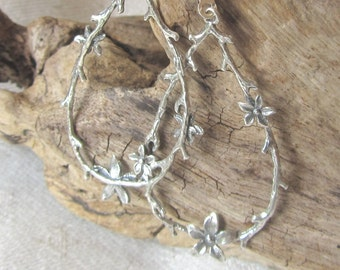Sterling Silver Twig Hoop Earrings on Sterling Lever Backs - Delicate Earthy Hoop Earring, Nature, Very Feminine Earring, Light Weight Hoops