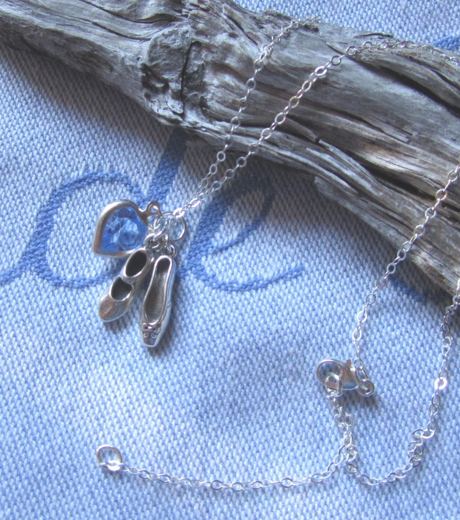 i love ballet and tap sterling charm necklace, swarovski crystal, sterling tap shoe n ballet slipper on sterling chain, dance re