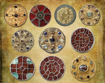 Digital Art - Ancient Round Brooches