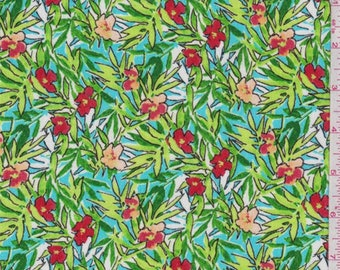c6dac94854 Turquoise Tropical Floral Print Rayon Crepon, Fabric By The Yard