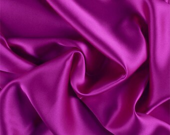 Magenta Silk Charmeuse, Fabric By The Yard