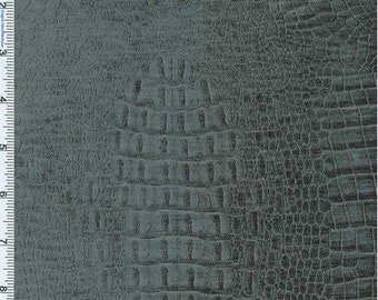 Dark Grey Crocodilian Embossed Chenille Upholstery Fabric, Fabric By The Yard