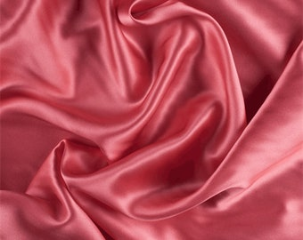 Coral Silk Charmeuse, Fabric By The Yard