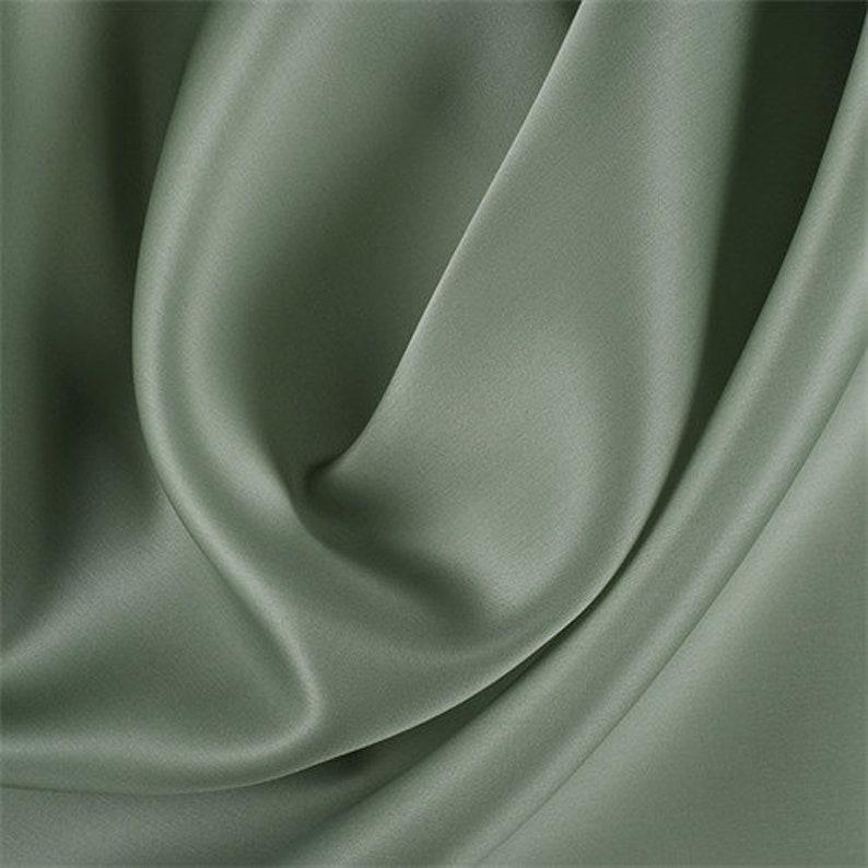 Dark Sage Silk Satin Organza Fabric By The Yard image 0