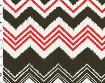 Red/Brown/White Premier Chevron Printed Woven Decor Fabric, Fabric By The Yard
