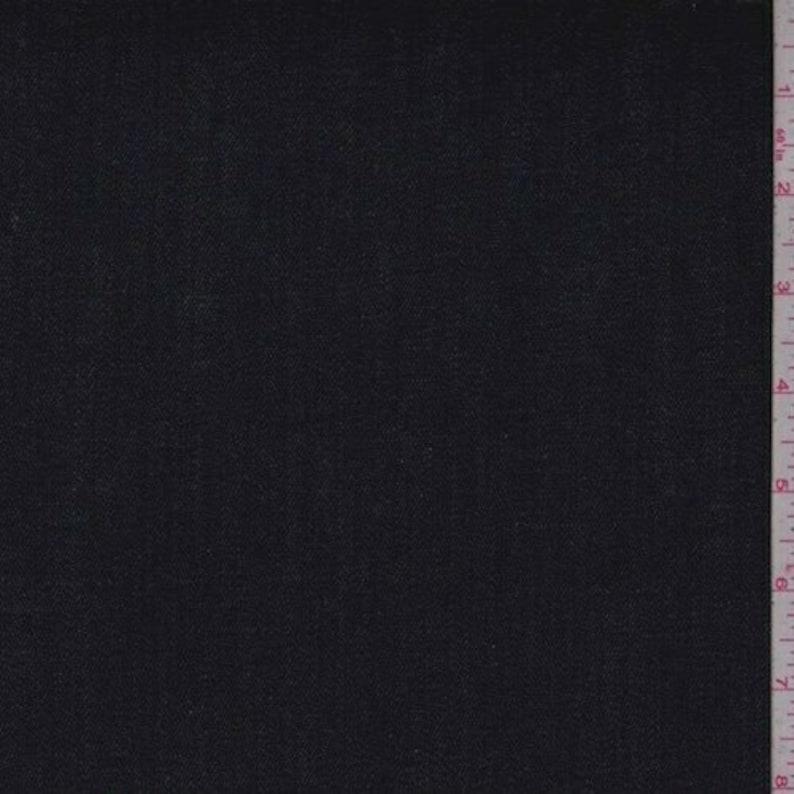Dark Ink Stretch Denim Fabric By The Yard