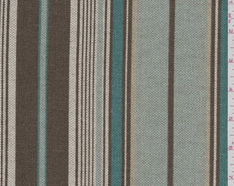 Terrace Brown/Blue Linen Look, Fabric By The Yard