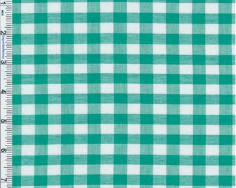 Minty Green Sheer Gingham Shirting, Fabric By The Yard