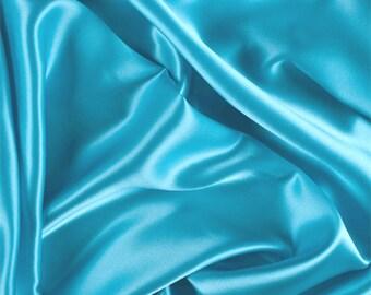 Aqua Silk Charmeuse, Fabric By The Yard