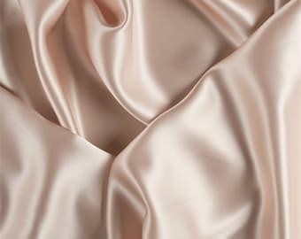 Pale Peach Silk Charmeuse, Fabric By The Yard