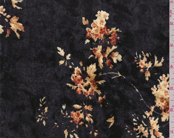 Black Cluster Print Panne Velour, Fabric By The Yard