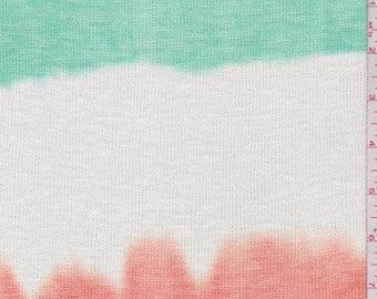 Aqua Green/Orange/White Ombre Stripe Sweater Knit, Fabric By The Yard