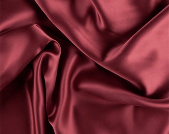 Antique Red Silk Charmeuse, Fabric By The Yard