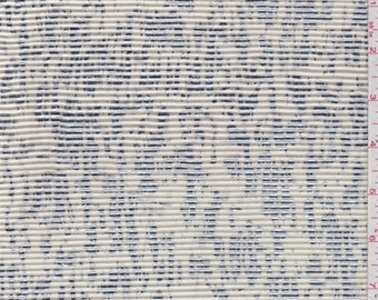 Ecru/Silver Foil Print Pleated Knit, Fabric By The Yard