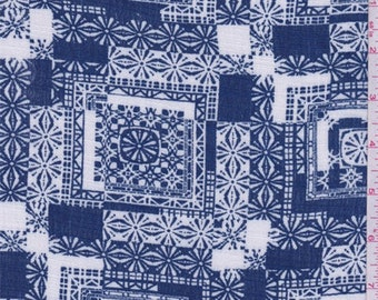 Deep Blue/White Tile Print Rayon Crepe, Fabric By The Yard