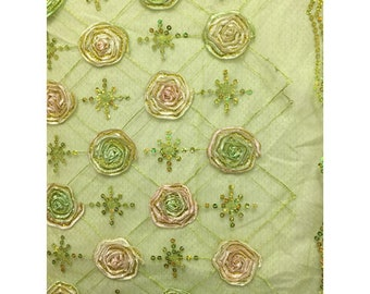 Avocado Green Floral Organza Mesh, Fabric By The Yard
