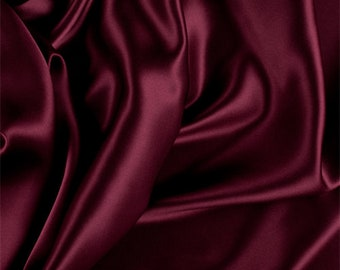 Wine Silk Charmeuse, Fabric By The Yard