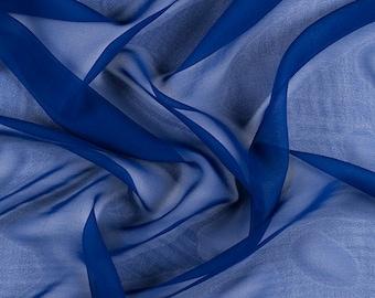 """54"""" Wide 100% Silk Chiffon Blue By the Yard (5012M150)"""