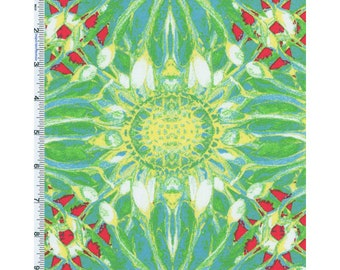 Green Tina Givens Dovecote Petals Sky Print Cotton, Fabric By The Yard