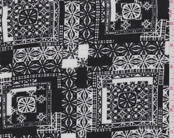 Black/White Tile Rayon Crepe, Fabric By The Yard