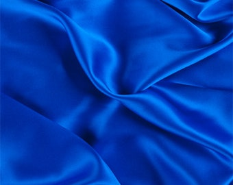 Sapphire Silk Charmeuse, Fabric By The Yard