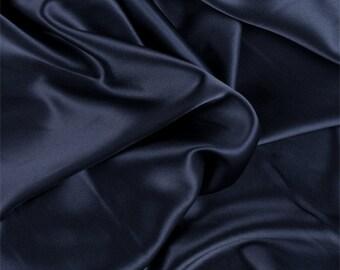 Navy Blue Silk Charmeuse, Fabric By The Yard