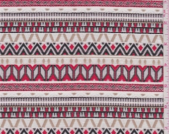 Ecru/Red/Tan Stripe Brocade, Fabric By The Yard