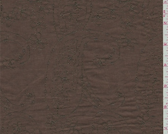 Brown Embroidered Lawn, Fabric By The Yard