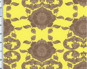 Citrus/Taupe Tina Givens Pagoda Print Cotton Voile, Fabric By The Yard