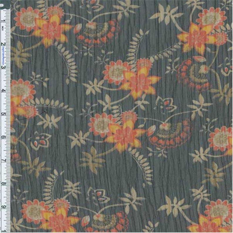 BlackOrange Stylized Floral Yoryu Chiffon Fabric By The Yard