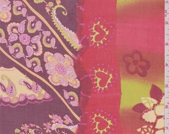 Burgundy Paisley Medallion Silk Chiffon, Fabric By The Yard