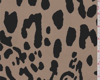 Camel Brown/Black Animal Print Crepe de Chine, Fabric By The Yard