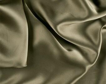 Avocado Stretch Silk Charmeuse, Fabric By The Yard