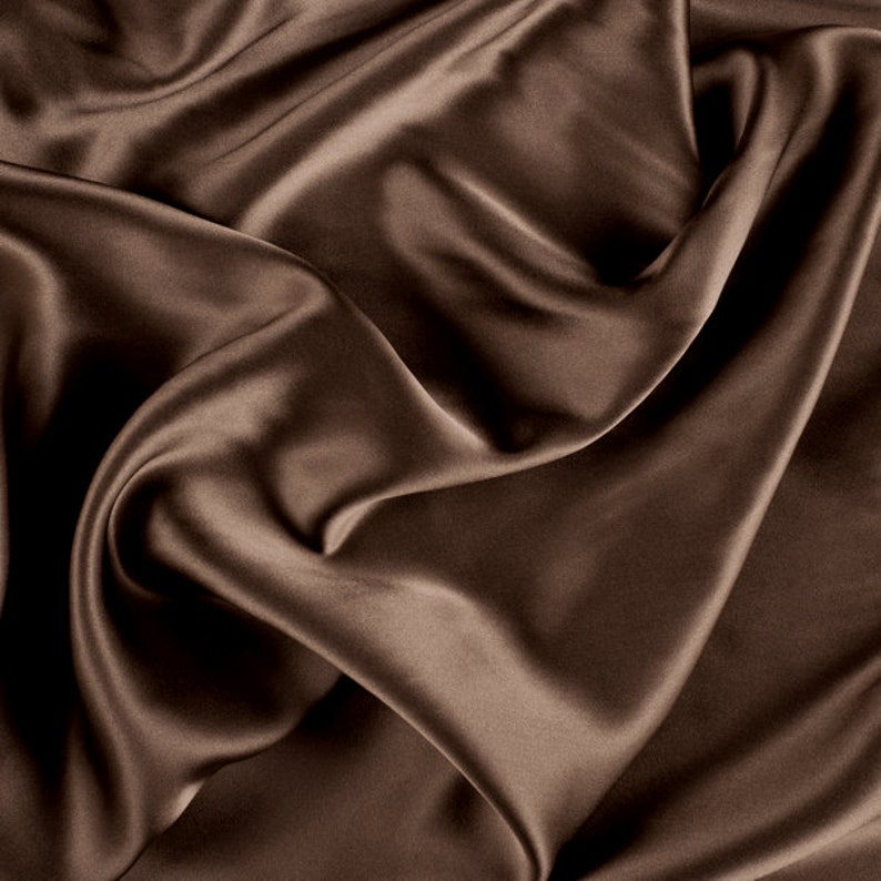 45 Wide 100/% Silk Charmeuse Olive Brown By the Yard 1000M182