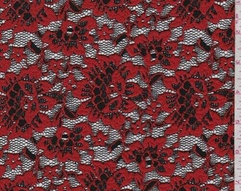 Crimson/Black Floral Stretch Lace, Fabric By The Yard