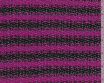 Hot Pink/Black Stripe Sweater Knit, Fabric By The Yard