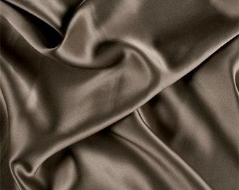 Dark Olive Stretch Silk Charmeuse, Fabric By The Yard