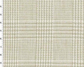 Taupe Beige/White Linen Glen Plaid Home Decorating Fabric, Fabric By The Yard