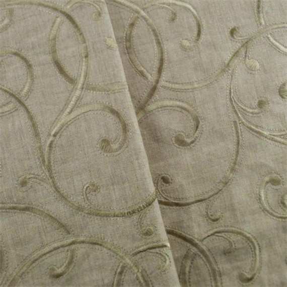 Hazelwood Beige Swirl Embroidered Home Decorating Fabric | Etsy
